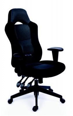 Irodai szék, állítható karfával, fekete bonded bőrborítás